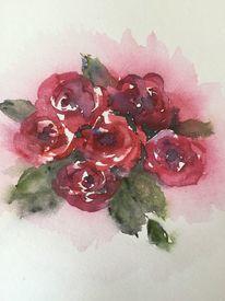 Blumen, Aquarellmalerei, Romantik, Rose
