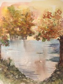 Herbst, See, Natur, Aquarell
