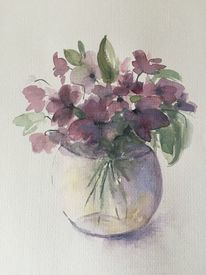 Blumenstrauß, Glasvase, Veilchen, Malerei