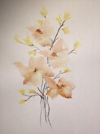 Blüte, Frühling, Zweig, Aquarell