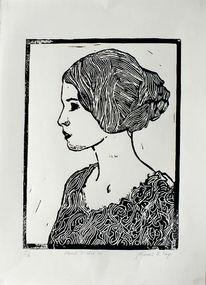 Portrait studie, Linoldruck, Himmel, Frau