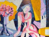 Gelb blau, Rot, Figur, Malerei