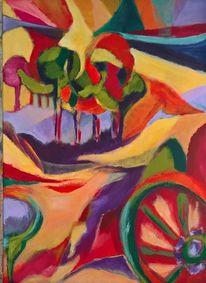 Rot, Orange, Landschaft, Malerei