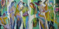 Acrylmalerei, Malen, Diptychon, Malerei