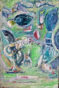 Tiere u, Grün, Blau, Malerei
