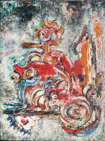 Fahrt, Rot, Bunt, Malerei