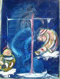 Waage, Bunt, Blau, Malerei