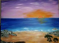 Malerei, Natur, Meer, Lila