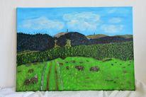 Grün, Landschaft, Natur, Acrylmalerei