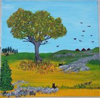 Natur, Malerei, Herbst, Landschaft