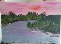 Malerei, Grün, Landschaft, Rhein