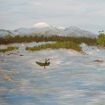 Malerei, Blau, Landschaft, Natur
