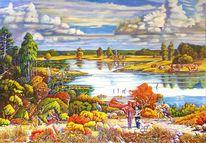 Menschen, Baum, Tiere, Landschaft