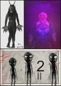 Clown, Alien, Mischtechnik,