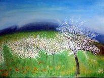 Obst, Baum, Blüte, Malerei