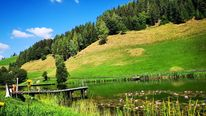Natur, Berge, Wasser, Teich