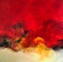 Rot schwarz, Malerei, Mischtechnik, Gelb