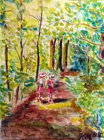 Waldweg, Sonnenlicht, Mädchen, Rucksack