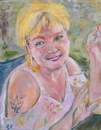 Sommer, Blond, Portrait, Malerei
