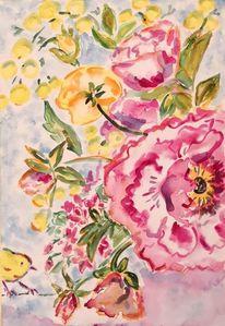 Gelb, Blumen, Pfingstrosen, Rosa