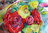 Malerei, Blumen, Natur, Brautstrauß aquarell rosen