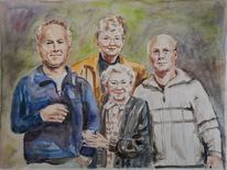 Familie, Aquarellmalerei, Mutter, Kinder