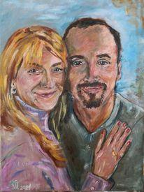 Glücklich, Jung, Paar, Malerei