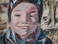 Winter, Lächeln, Gouachemalerei, Malerei