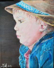 Hut, Konzentrieren, Kleiner junge, Malerei