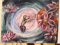 Bunt, Kolibri, Blumen, Aquarell