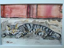 Katze, Streifen, Treppe, Aquarell