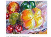 Paprika, Apfel, Kirschtomaten, Malerei