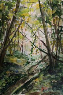 Schatten, Wald, Licht, Aquarell