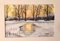 Winter, Sonne, Spiegelung, Aquarell