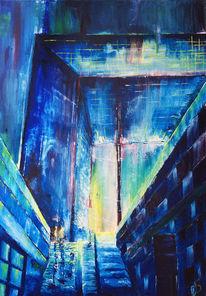 Stadt, Malerei, Paris, Stadtlandschaft