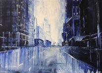 Sonne, Stadtlandschaft, Gemälde, Blau