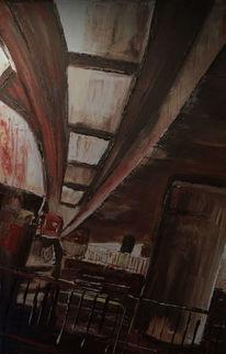 Malerei, Zeitgenössisch, Stadt, Straßenbahn