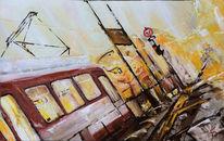 Gemälde, Straßenbahn, Bahn, Zeitgenössisch