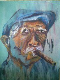 Portrait, Bunt, Hut, Abstrakt