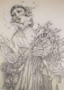 Narr, Blumenstrauß, Frau, Retro
