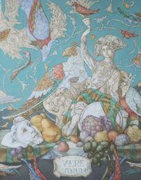 Vogel, Blumen, Ornament, Weintrauben