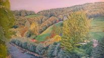 Farben, Fluss, Wald, Malerei