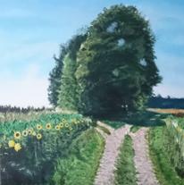 Wiese, Himmel, Wald, Malerei