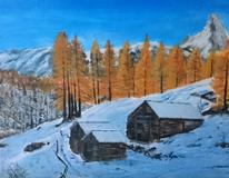 Wald, Landschaft, Hütte, Malerei