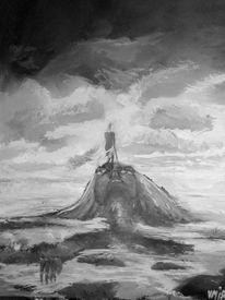 Meer, Wolken, Göttin, Malerei