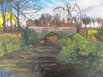 Fluss, Sonne, Brücke, Malerei