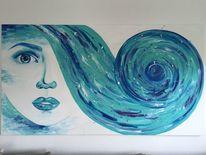 Malerei, Frau, Blau, Gesicht