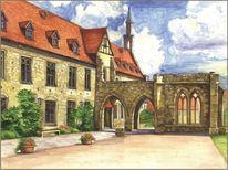 Kloster, Aquarellmalerei, Aquarell,