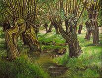 Weide, Natur, Ölmalerei, Malerei