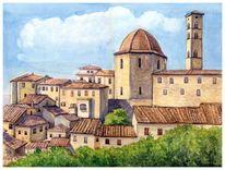 Architektur, Aquarellmalerei, Toskana, Aquarell